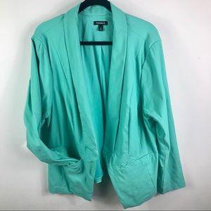 Torrid turquoise buttonless cut away blazer size 4